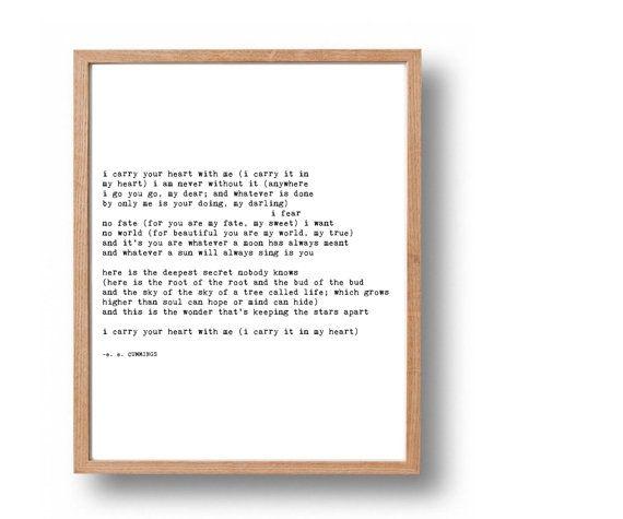 EE CUMMINGS Literary Quote Print Wedding Poem Typewriter Romantic Gift
