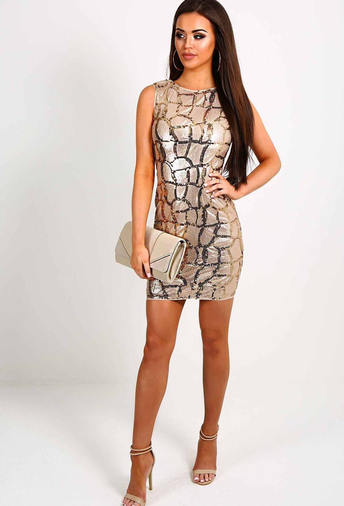 Buy motel coco backless bodycon dress in hot pink at motel rocks - Sinead Rose Gold Crackle Sequin Bodycon Dress