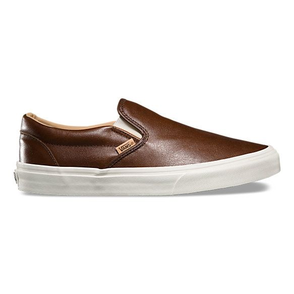 Vans Leather Slip-On Kids Boy's Shoes Brown