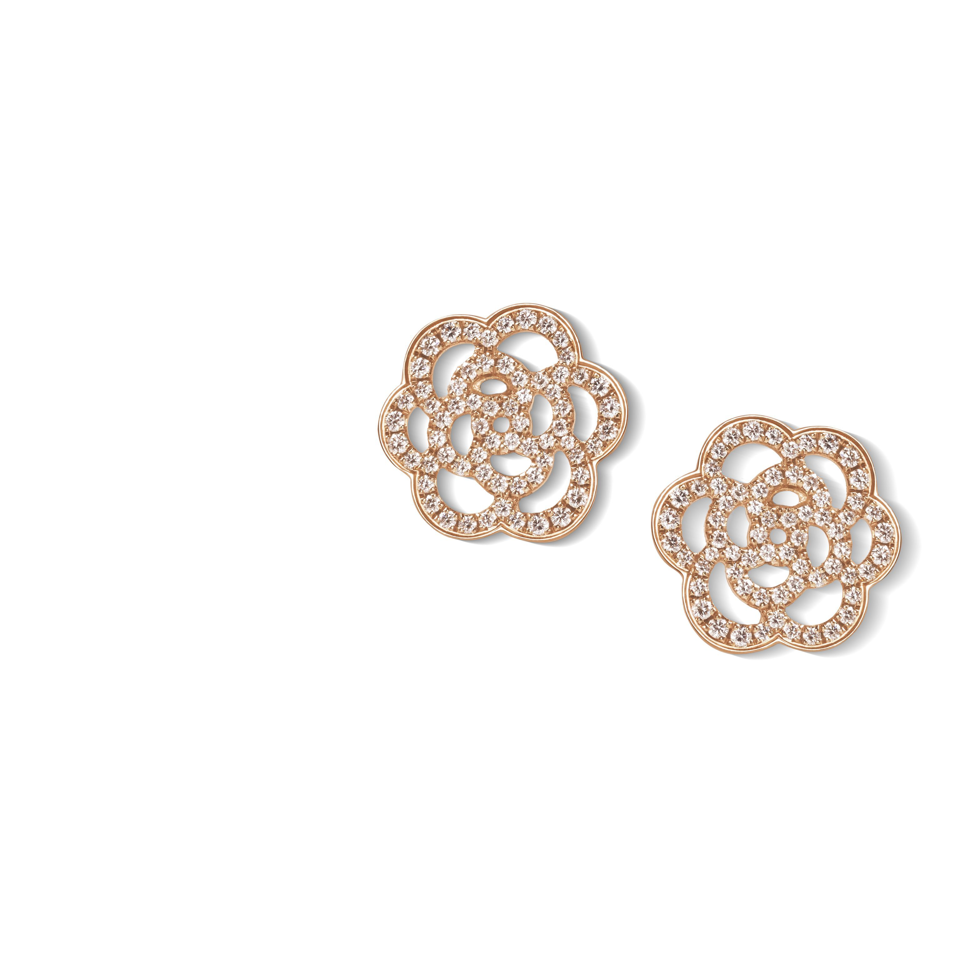 Camélia Earrings Ajouré In Pink Gold And Diamonds At The Chanel Fine Jewellery Website