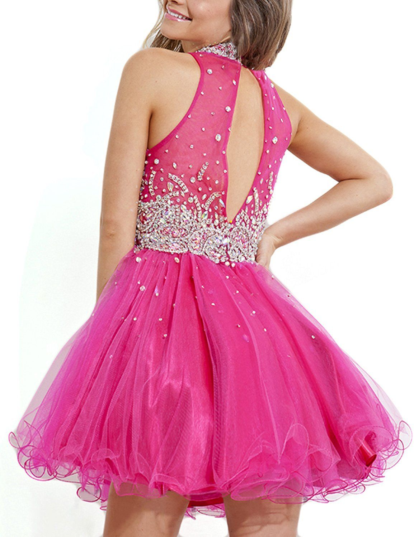 7c1925d151b Amazon.com  LovingDress Women s Homecoming Dresses Tulle A Line High Neck  Short…