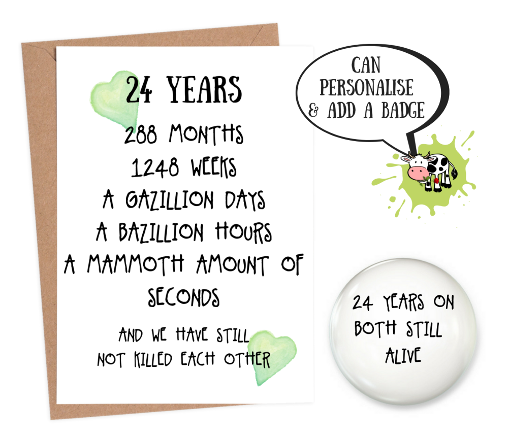 24th year anniversary card personalised wedding