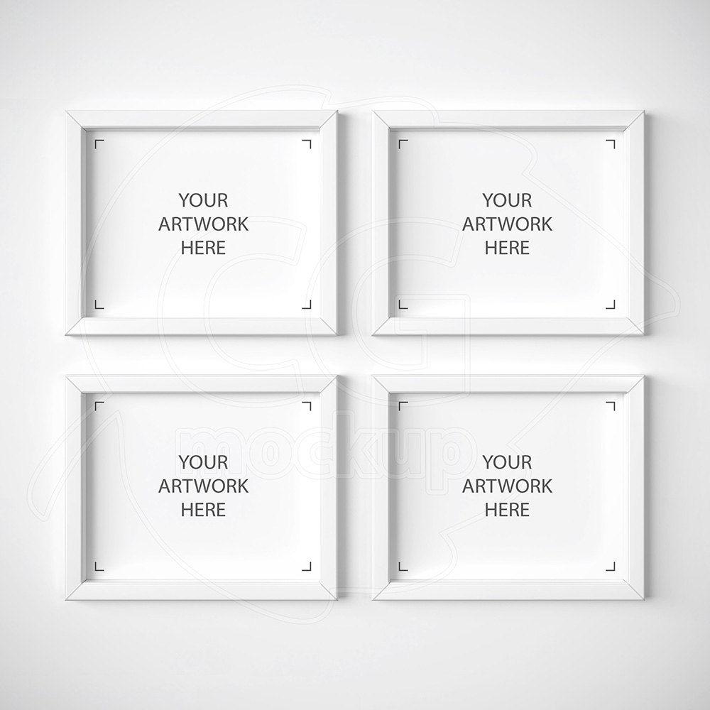 Set of four mock ups, 8х10 frame mockup, White frame mockups ...