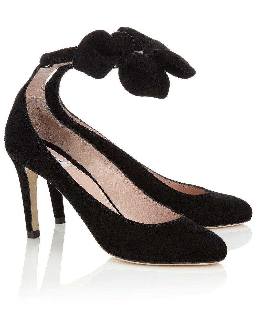 86bf23dc04c Black Suede Bow Strap Heels