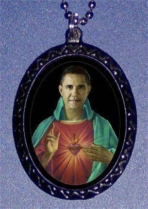 kitschy saint obama necklace