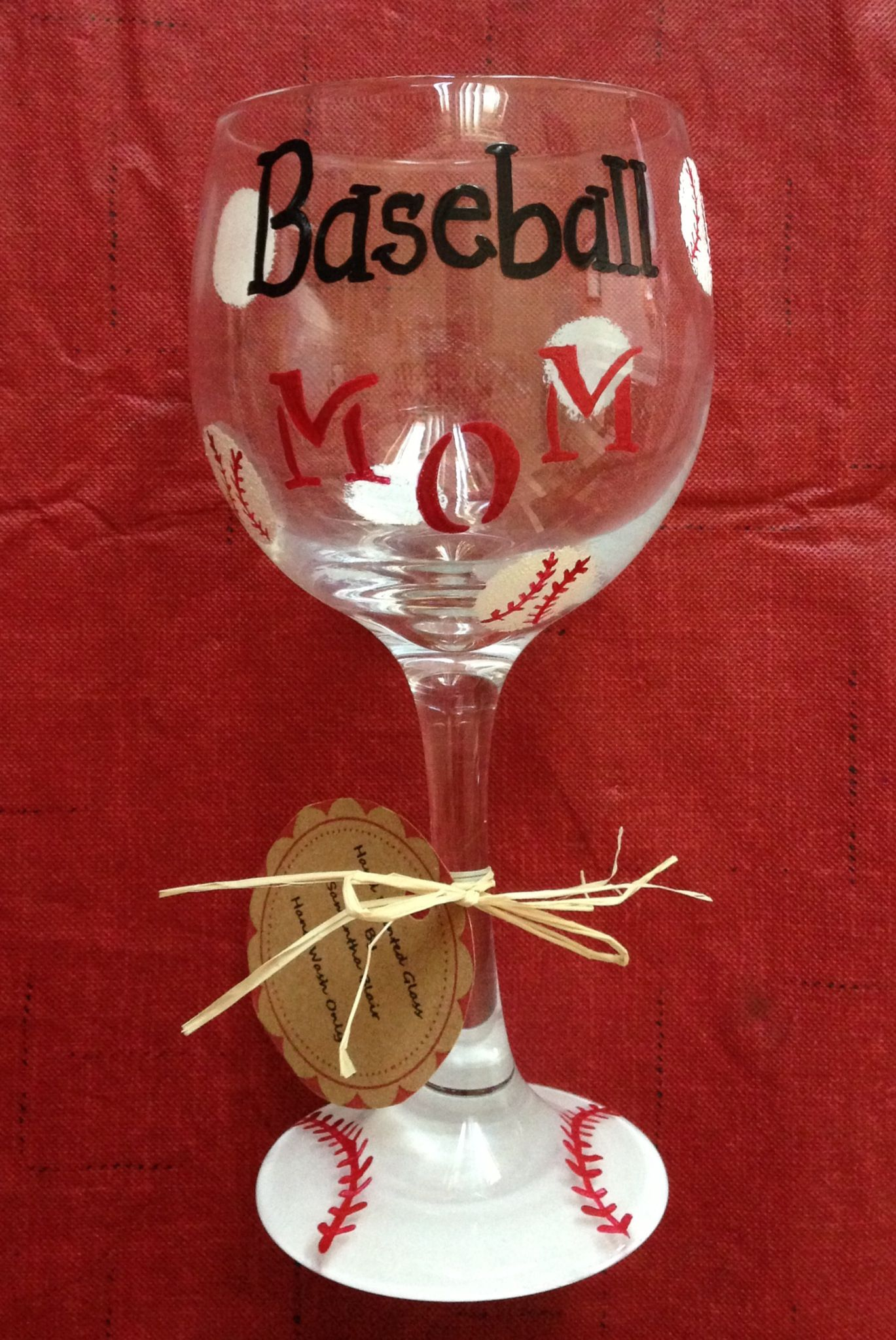 Hand Painted Baseball Mom Wine Glass By Samantha Blair Wine Glass Crafts Glass Bottle Crafts Hand Painted Wine Glasses