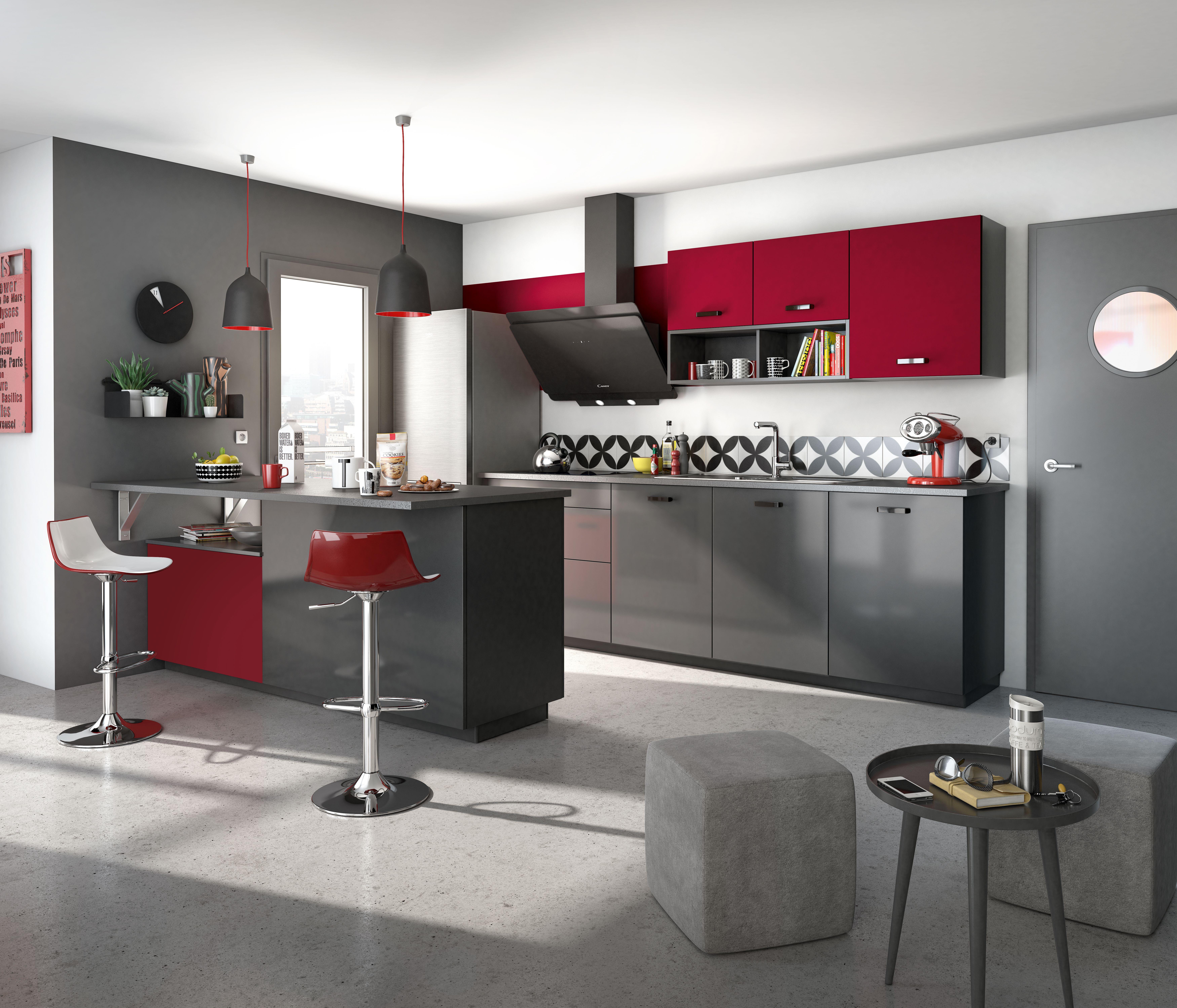 Cuisine Rouge Et Grise Modele De Cuisine Urban Par Socoo C Cuisine Rouge Et Gris Cuisine Ouverte Idee Deco Cuisine
