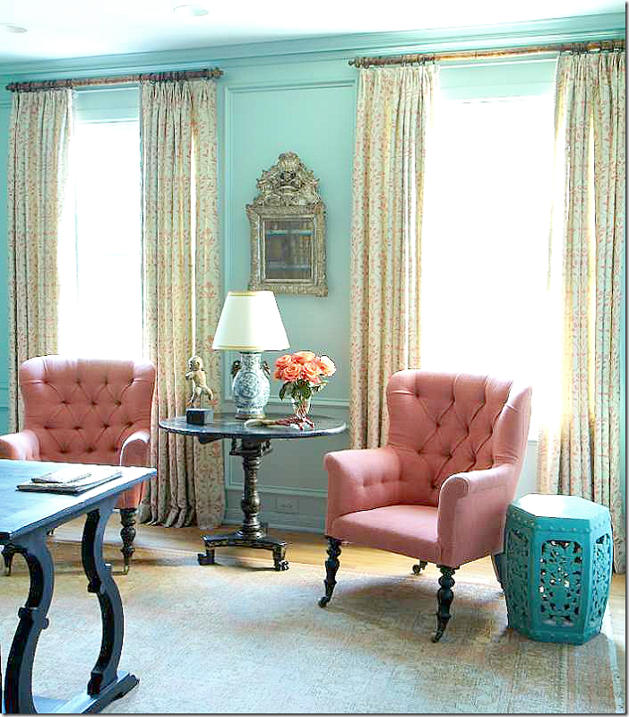 Tiffany Blue Wall Paint: Apricot Fabric For Wingbacks? Love This Color Love The