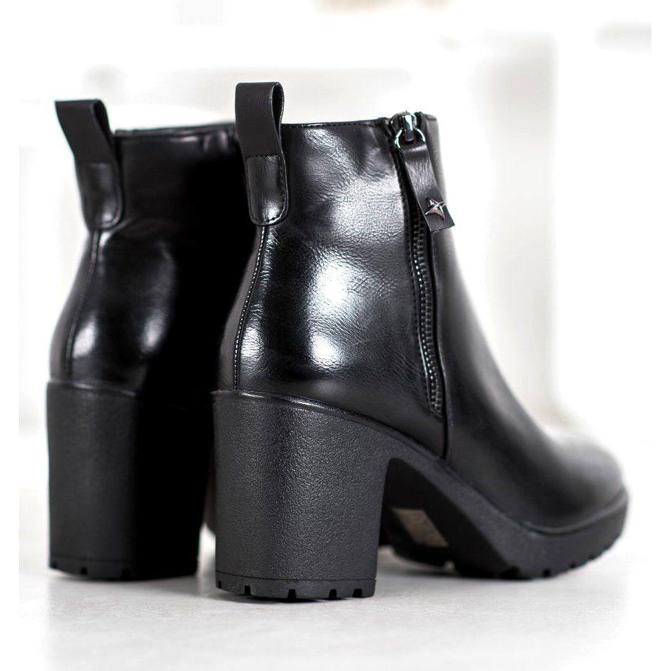 czarne buty damskie skóra botki szeroki obcas