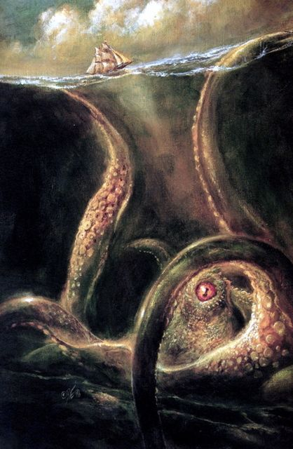 Image result for famous paintngs and artwork kraken in stormy sea""