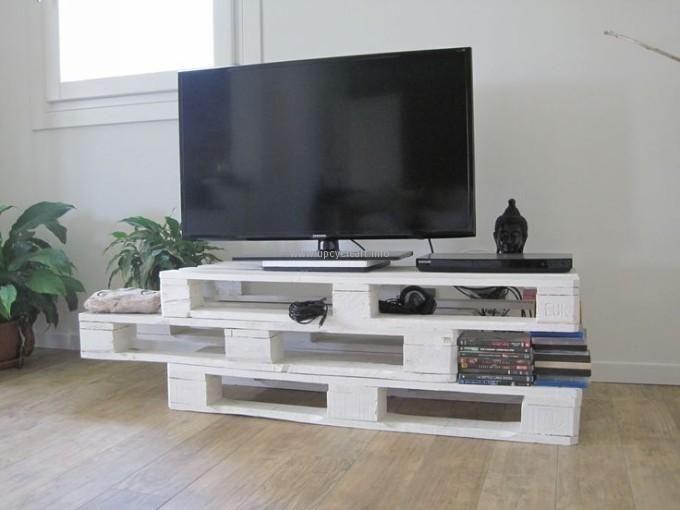 Deco Et Meubles Tv Fabriques Avec Des Palettes De Bois 20 Idees Meuble Tele En Palette Mobilier De Salon Idees De Meubles