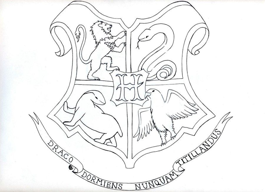 Elegant Hogwarts Crest Coloring Page 67 For Your Coloring
