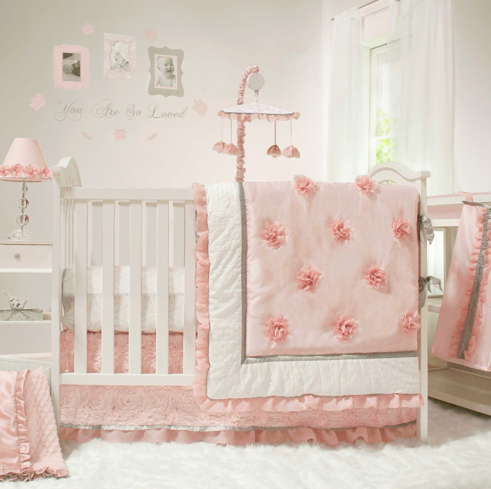 Sweet jojo designs construction zone lamp shade free shipping on - Peanut Shell 5 Piece Baby Nursery Crib Bedding Set Arianna With Mobile New