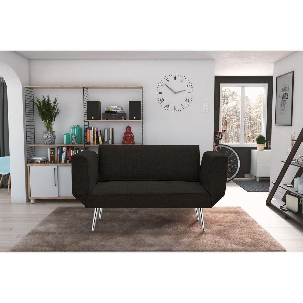 Dhp Euro Sofa Futon Loveseat With Chrome Legs And Adjule Armrests Black Click Image To Review More Details This Is An Affiliate Link I Receive