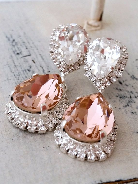 Blush earrings,Blush bridal earrings,Blush chandelier ...