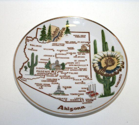 Arizona Plate, Arizona Souvenir, Vintage Arizona Plate, Saguaro, Phoenix, Navaho Reservation, Grand Canyon, Vintage Arizona
