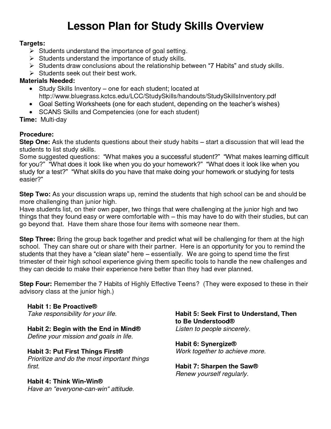 Life Skills Worksheets High School In