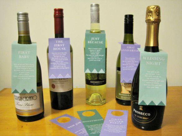 Wedding Wine Gift Basket: Wine Basket Bridal Shower Gift + Printable Poem Gift Tags
