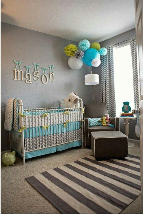 Grey, lime green, white, and turquoise blue room Décoration - deco chambre turquoise gris