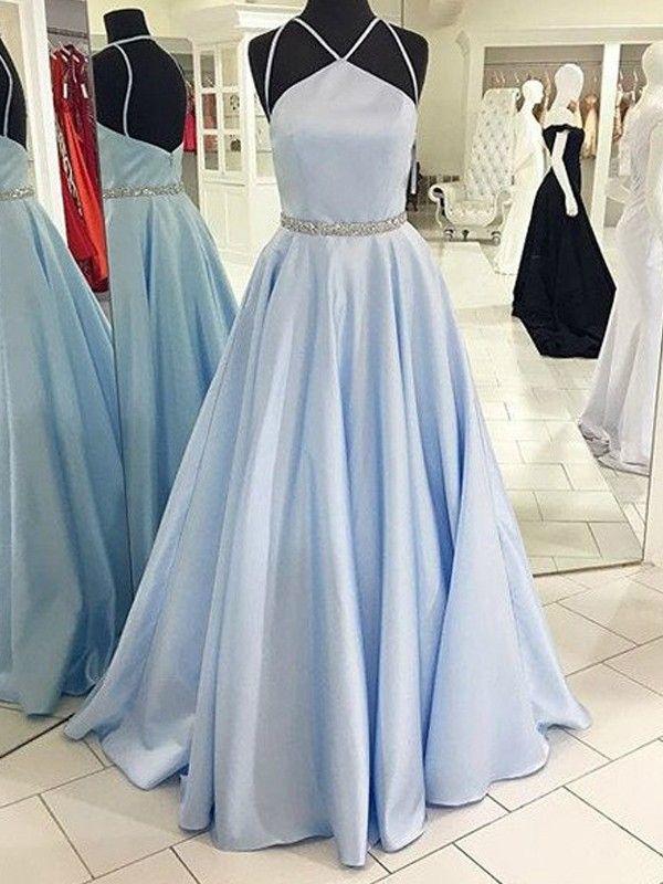 1d7de019a28 A-Line Princess Halter Sleeveless Floor-Length Satin Dresses - Prom Dresses  - Hebeos Online