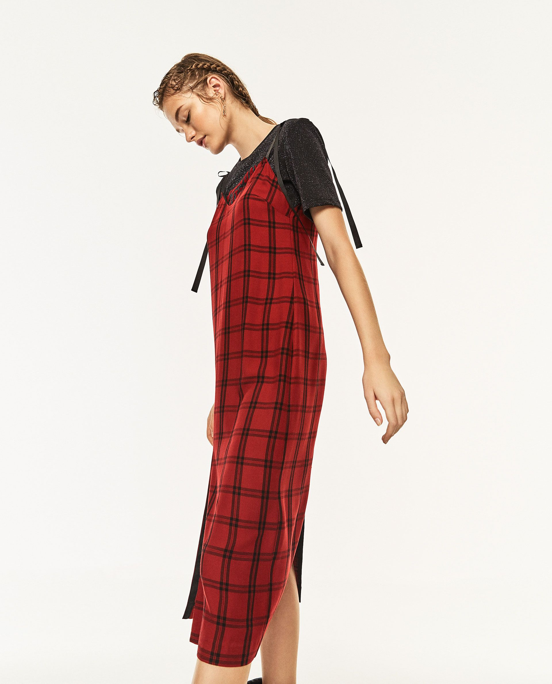 Long check dress zara pinterest check dress and dress collection