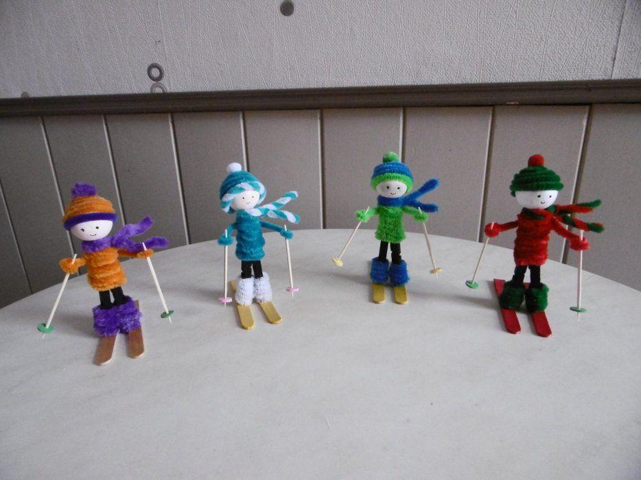 Des petits skieurs avec une pince linge en bois noel pinterest linge en bois et bois - Pince a linge en bois creation ...