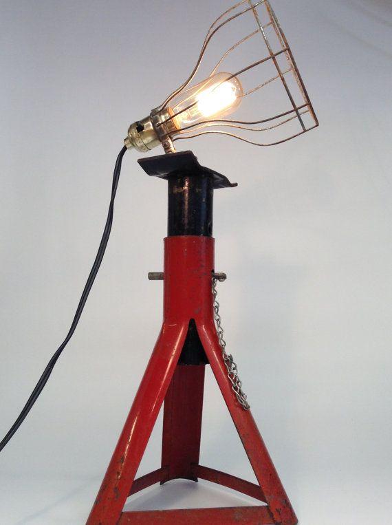 Jack Stand Designs : Vintage lamp jack stand light lighting industrial man cave