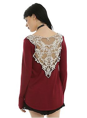 <p>Everyone should beware the scorpion's sting when you turn around in this long-sleeved top! The burgundy scoop neck looks normal from the front, but when you turn around, you reveal the ivory crocheted back detail of two scorpions among the lace flowers. Deadly!</p>  <ul> 	<li>87% polyester; 10% rayon; 3% spandex</li> 	<li>Hand wash cold; dry flat</li> 	<li>Made in USA</li> 	<li>Listed in junior sizes</li> </ul>