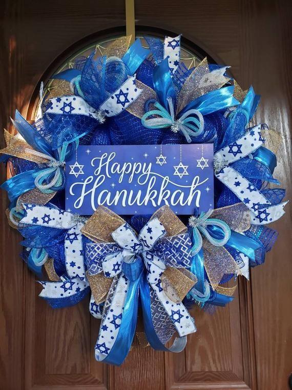 Hanukkah decoration for your front door or wall. #hanukkahdecoration #hanukkah #happyhanukkah #jewish #jewishholiday #holidays #decorations #starofdavid #bluewreath #bluedecoration #blueandsilver #menorrah #craftytherapybyl