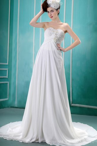 Floor-length Train Ruched/Appliques/Flowers Zipper Strapless Chiffon A-line Natural White Sleeveless Elegant Chapel Wedding Dress