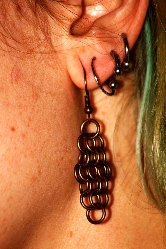 Brass Diamond Chainmaille Earring by EotBDesigns on Etsy, $24.00