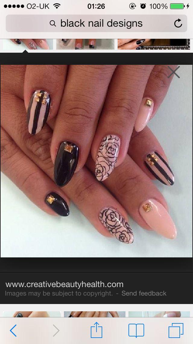 Pink and black nails   nail art   Pinterest   Black nails, Round ...