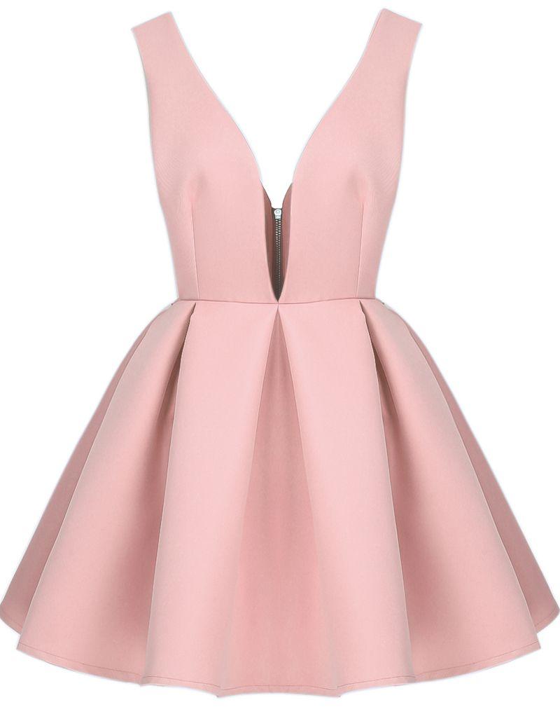 Pink V Neck Sleeveless Backless Flare Dress - Sheinside.com ...