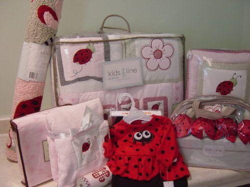 Kidsline Ladybug Pink Flower Garden Crib Bedding Set 18pc Crib