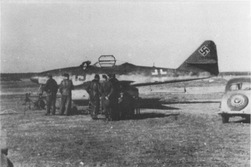 Staff at the Luftwaffe fighter Me-262A-1a Lieutenant Colonel Heinz Baer