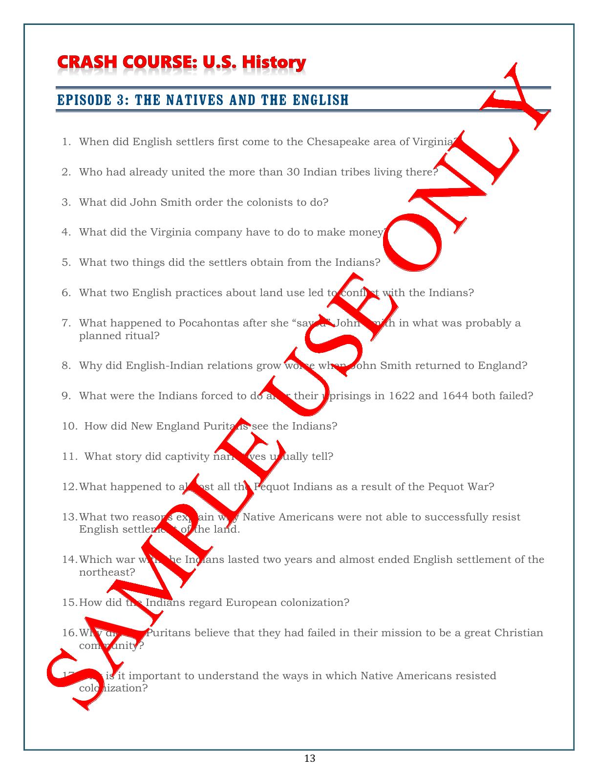 Crash Course U.S. History Worksheets: Episodes 1-5 ...