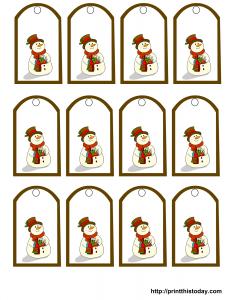 Christmas gift tags free printable snowman