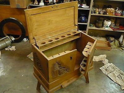GEORGE ZEE Antique Craved Liquor Cabinet