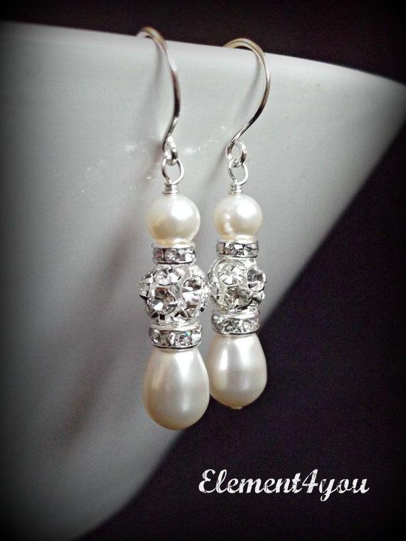 Bridal pearl rhinestone earrings White or ivory pearls Dangle Silver Wedding earrings Bridesmaid earrings Jewellery Bridal party gift Pearl on Etsy, $16.95