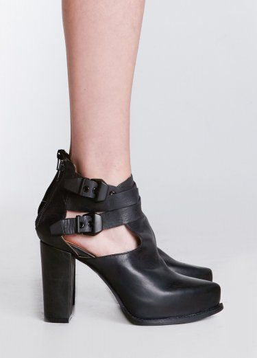 Asper Bootie- This versatile ankle wrap platform boot features matte black hardware and side cut outs.