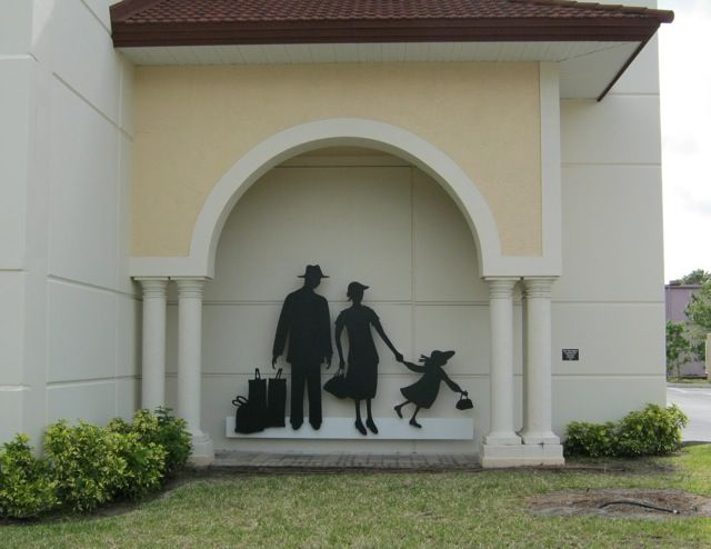 """""""The Passengers"""" - Located in downtown Sarasota, Florida on the site of the City's former Atlantic Coast Railroad Station.Visit the website: www.dagdart.com to view more photos of the public art piece."""