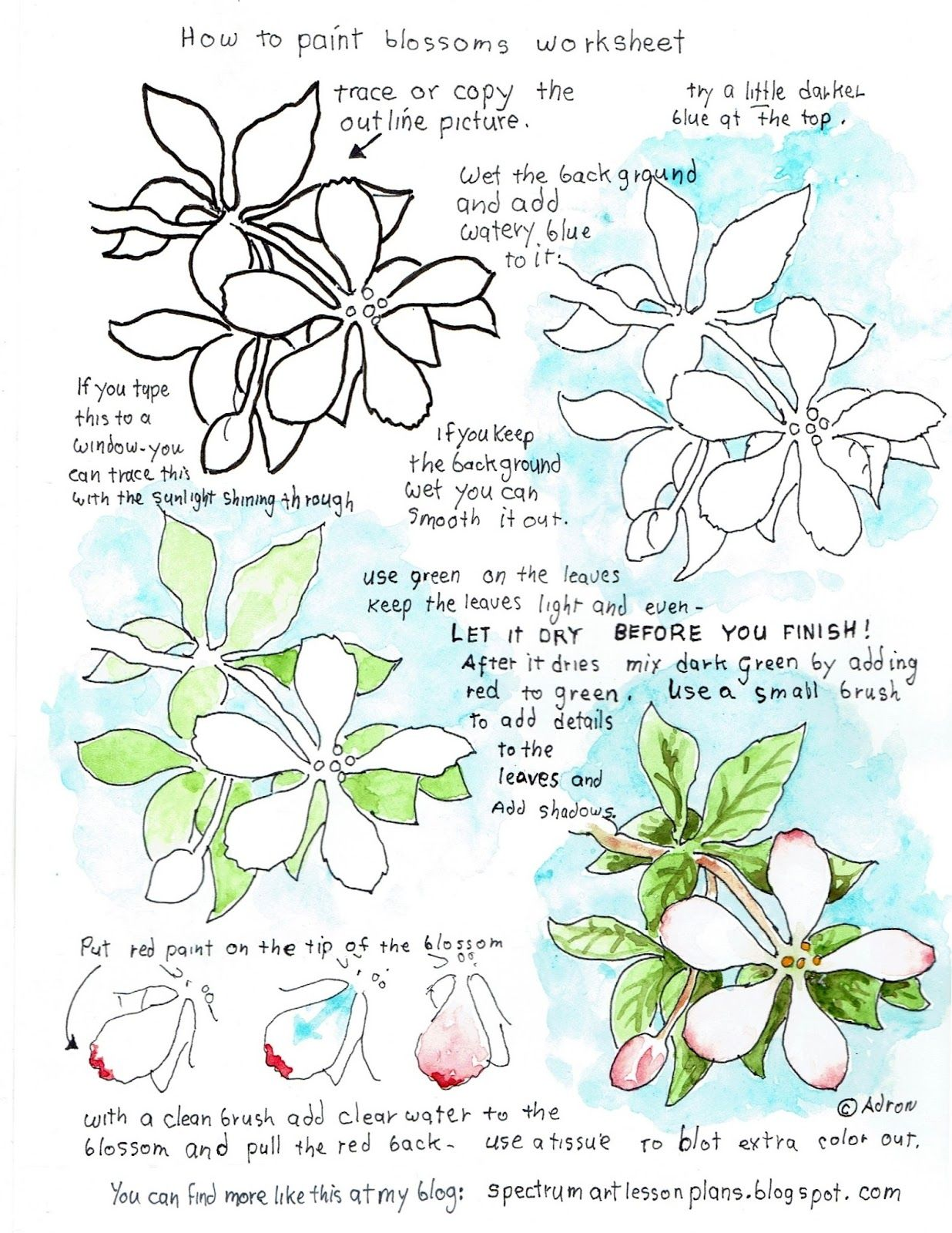 How To Paint Blossoms Easy Watercolor Worksheet For The