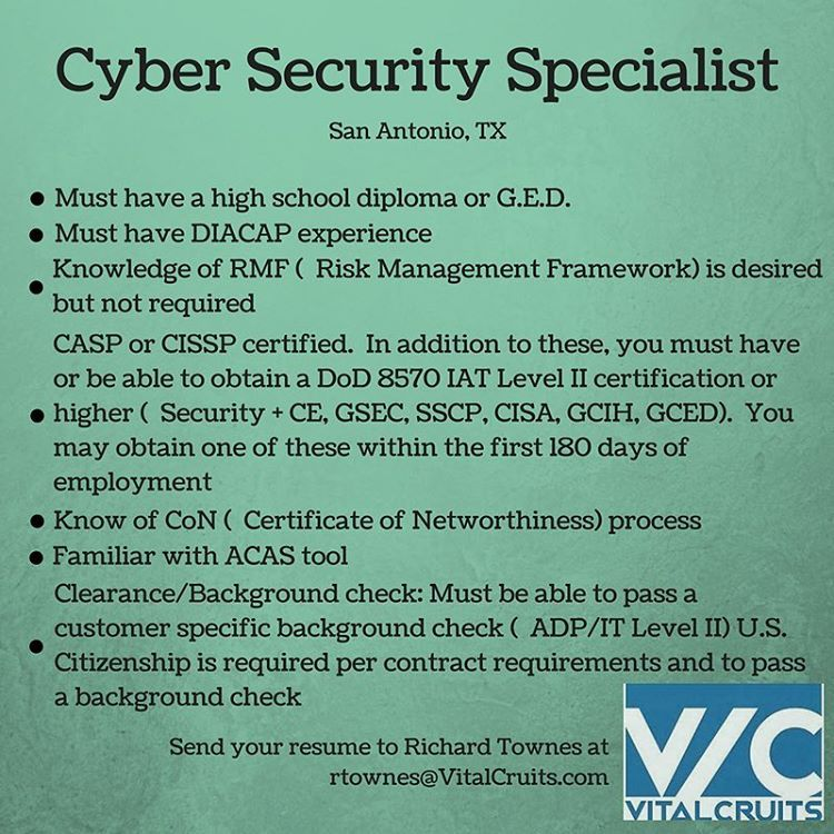 Cyber Security Specialist opportunity in San Antonio, TX Email - security specialist resume