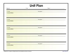 Simple Unit Lesson Plan Template  Lesson Plan Templates