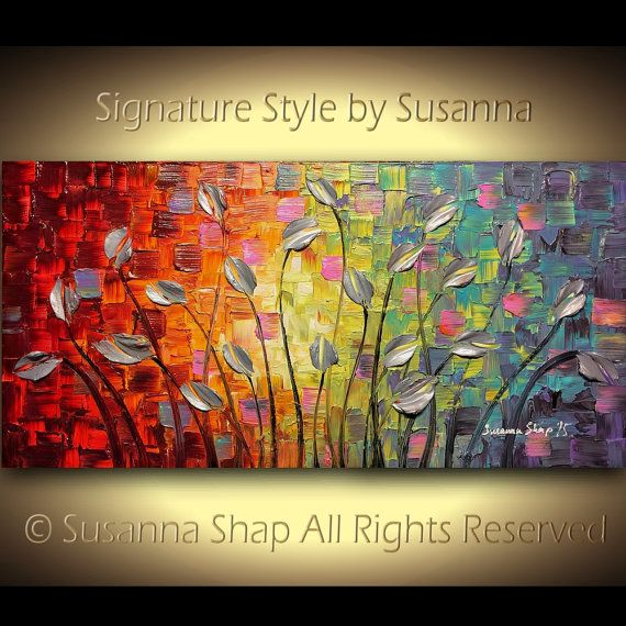 ORIGINAL Large Abstract Art Modern Texured Silver Tulips Landscape Painting Palette Knife Impasto Oil Painting by Susanna 48x24