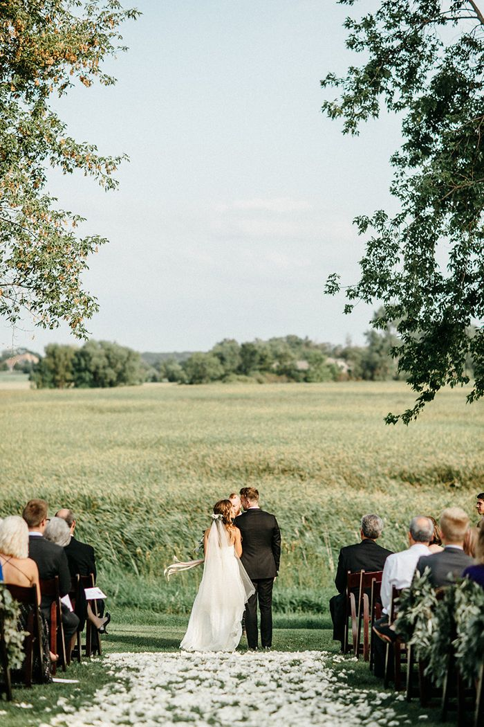 Romantic farm wedding in minnesota pinterest farming fields and a simple outdoor farm ceremony overlooking a field junglespirit Image collections