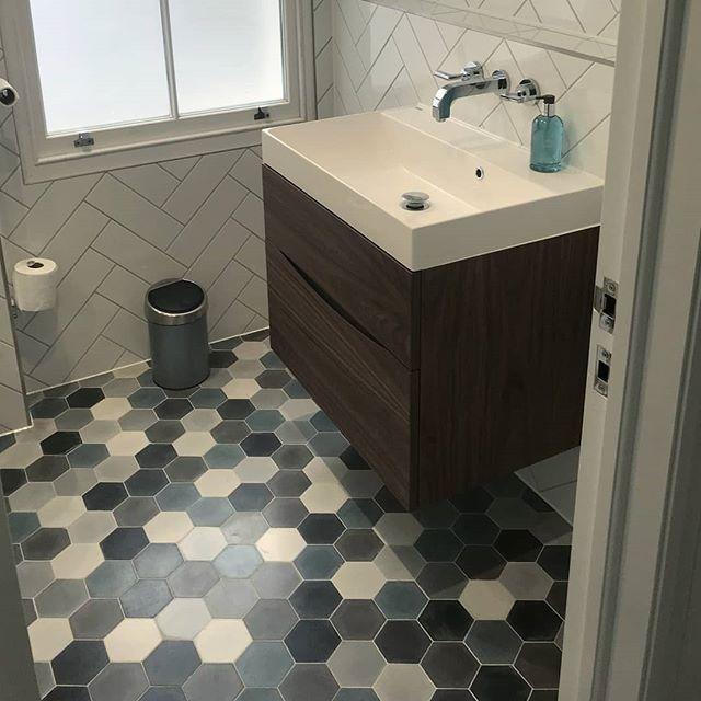 Mini Hex Concrete Tiles In The Berber Mix On Bathroom Floor At A Client London Stock Our Warehouse Copenhagen