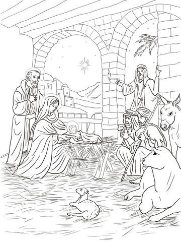 Shepherds Come To See Baby Jesus Coloring Page Jesus Coloring