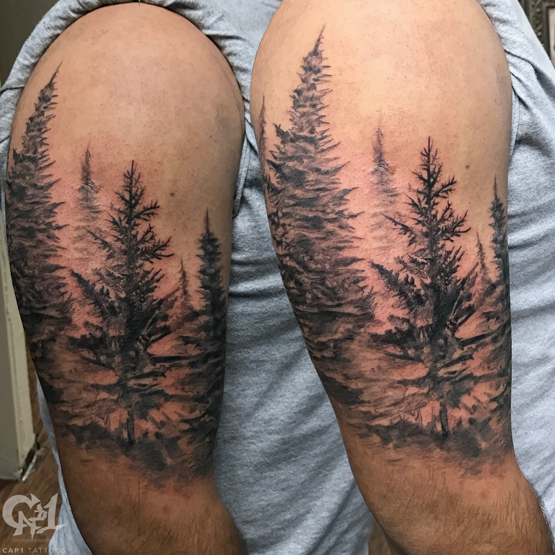 Pine Tree Forest Tattoo Half Sleeve At Tattoosbycapone Capones