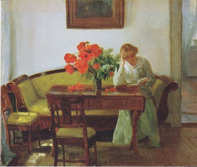 Danish Anna Ancher 1859-1935 paints herself & the world around her//Anna Ancher (Danish painter, 1859-1935) Interior with Frau Lizzy Hohlenberg 1905